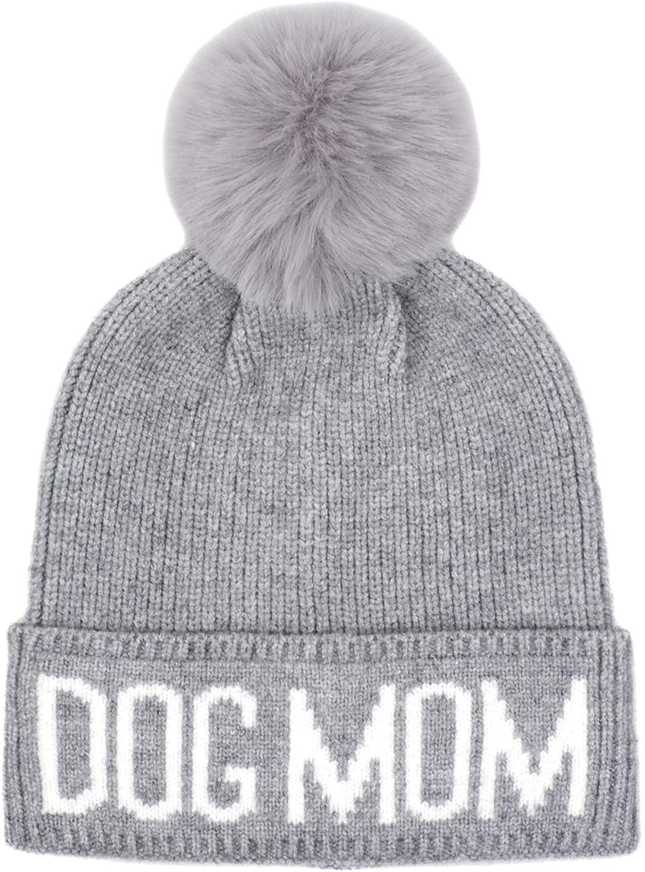Hatphile Dog Mom Faux Fur Pompom Knit Beanie