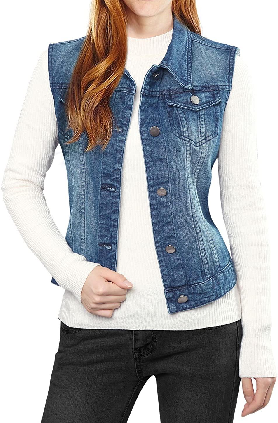 Allegra K Women's Buttoned Washed Denim Vest Jacket W Chest Flap Pockets
