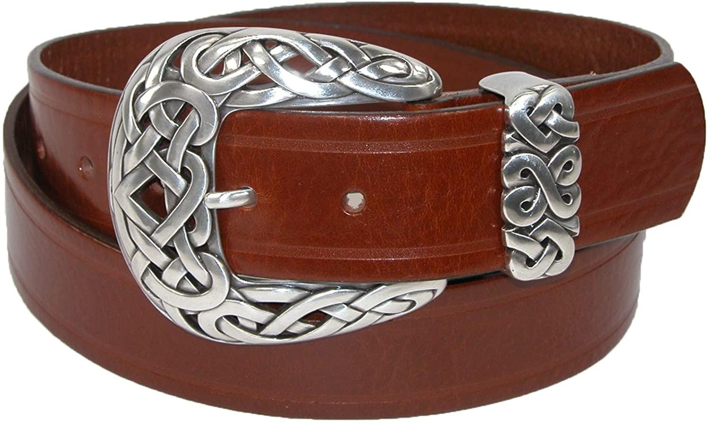 Belt Shak Women's Italian Leather Belt with Celtic Knot Buckle