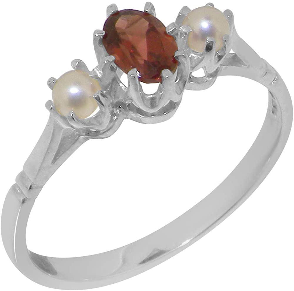 Solid 925 Sterling Silver Natural Garnet & Cultured Pearl Womens Ring - Sizes 4 to 12 Available