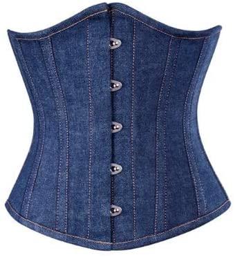 CORSETATTIRE Women's Blue Denim Steampunk Waist Cincher Steel Bone Halloween Underbust Corset