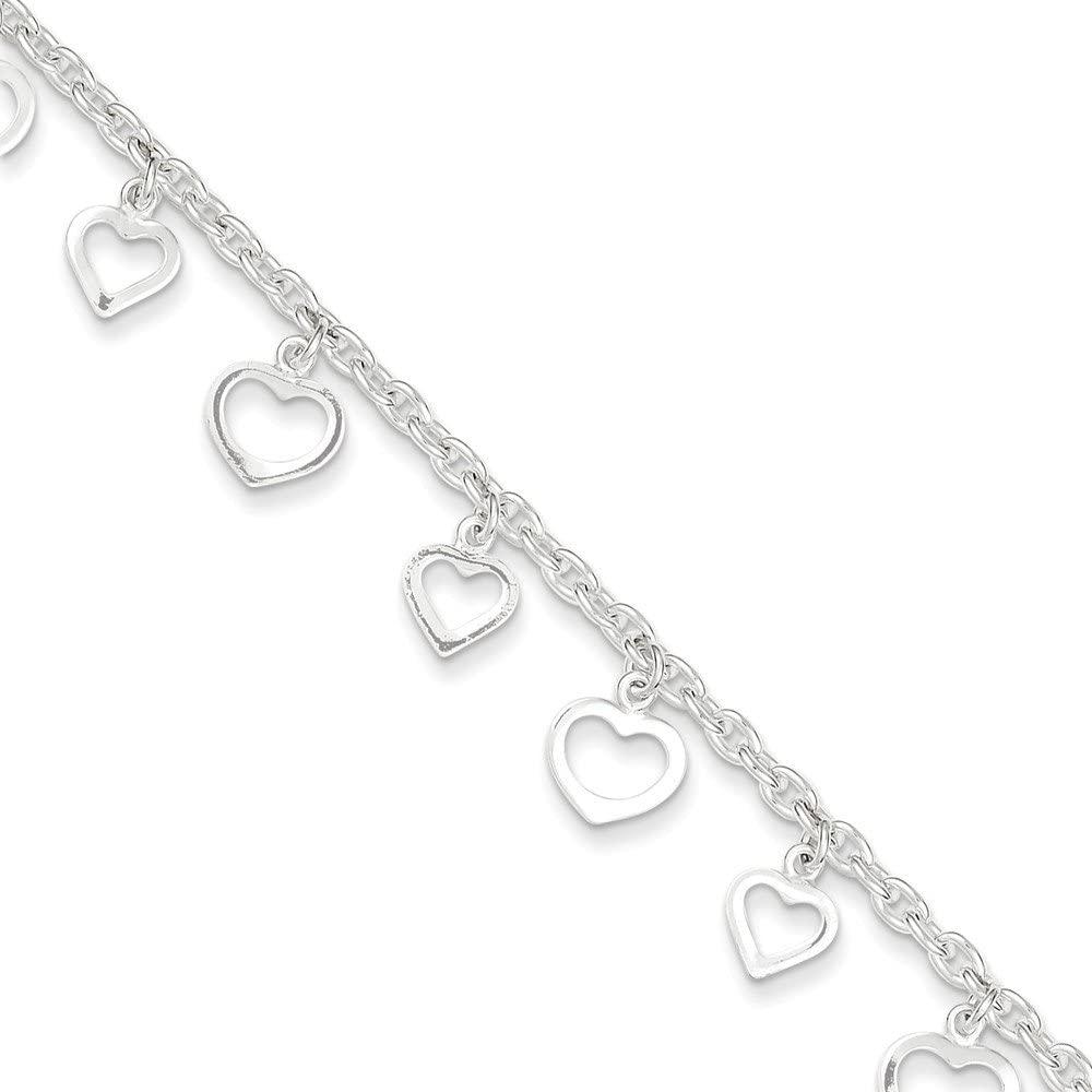 Mia Diamonds 925 Sterling Silver Solid 9 Polished Heart Anklet Bracelet -9