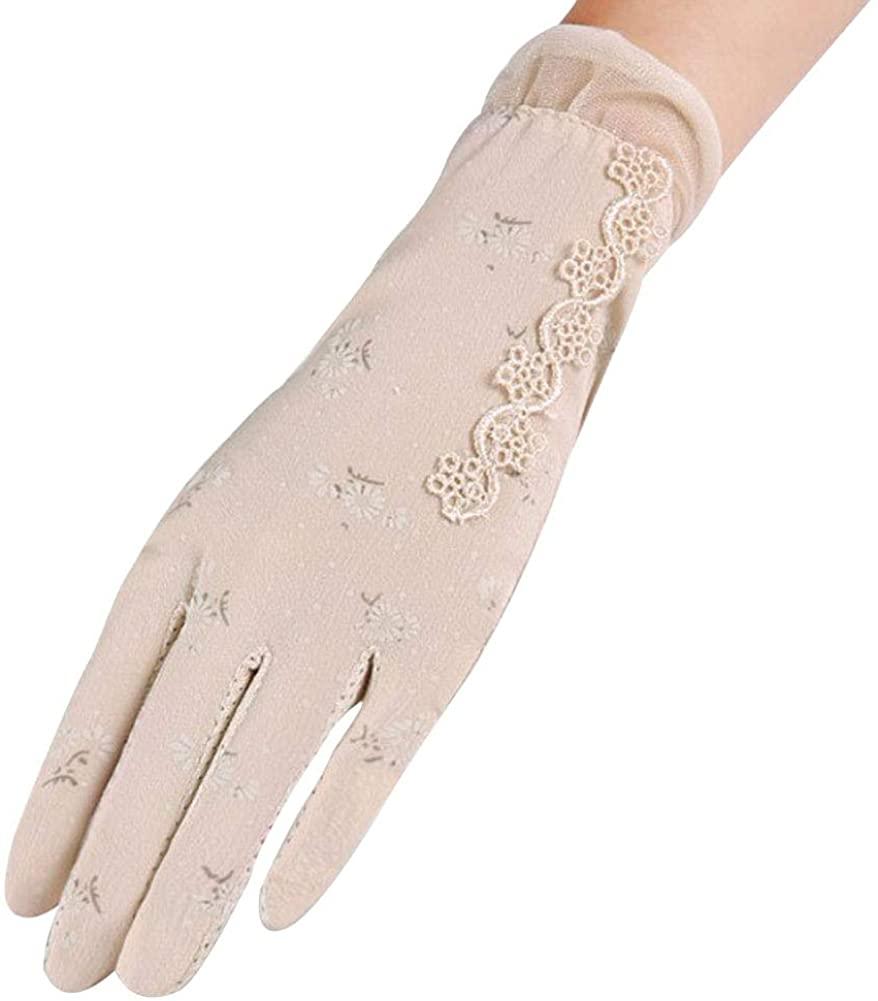 LerBen Women Touchscreen Gloves Summer Outdoor UV Protection Anti-skid Driving Gloves