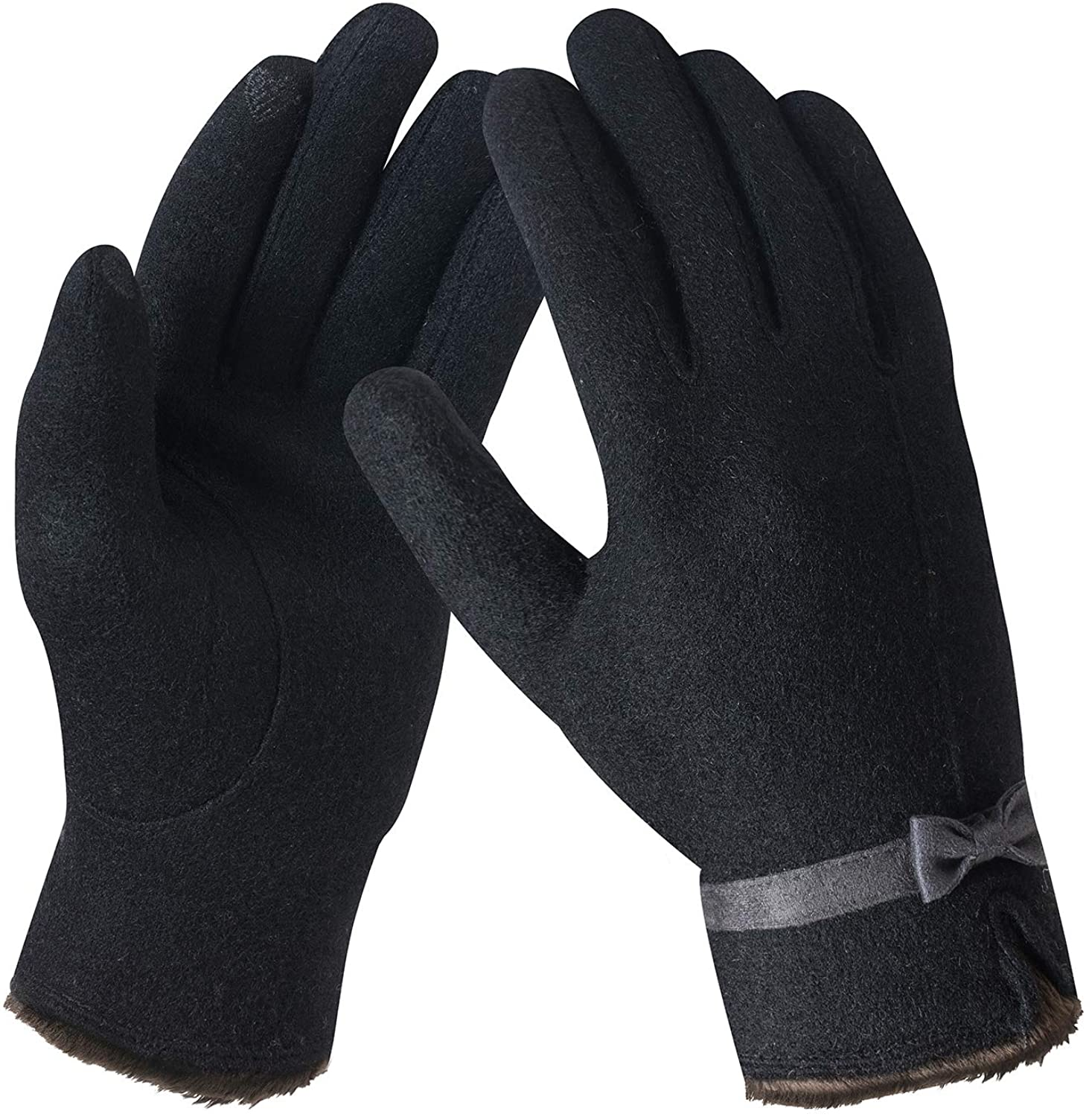 Womens Winter Touch Screen Knit Gloves Thick Warm Wool Gloves for Women