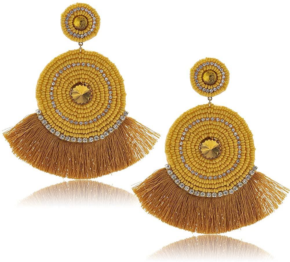 Bohemian Beaded Tassel Earrings for Women - Large Statement Native Beaded Fringe Earrings with Crystal, Big Fashion Handmade Beaded Fan Drop Earrings for Party, Holiday, Gift