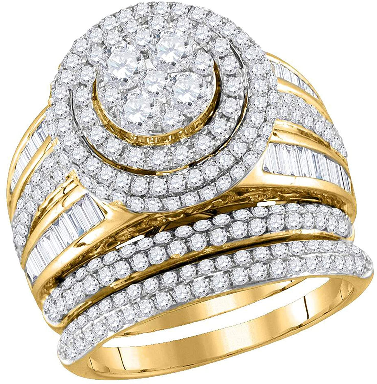 Dazzlingrock Collection 2.46 Carat (Ctw) Diamond Bridal Wedding Ring Set 2-1/2 Ctw, 14K Yellow Gold