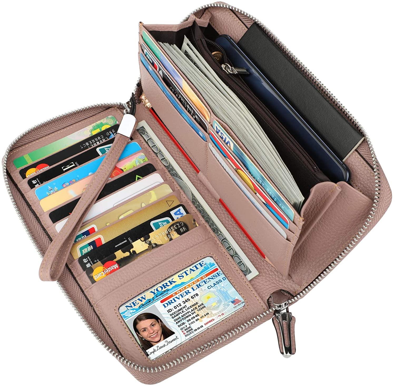 Lavemi Women's RFID Blocking Leather Zip Around Wallet Large Phone Holder Clutch Travel Purse Wristlet