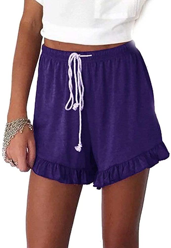 Aibrou Women's Sleep Shorts Solid Color Pajama Bottom with Drawstring Ruffled Shorts Purple