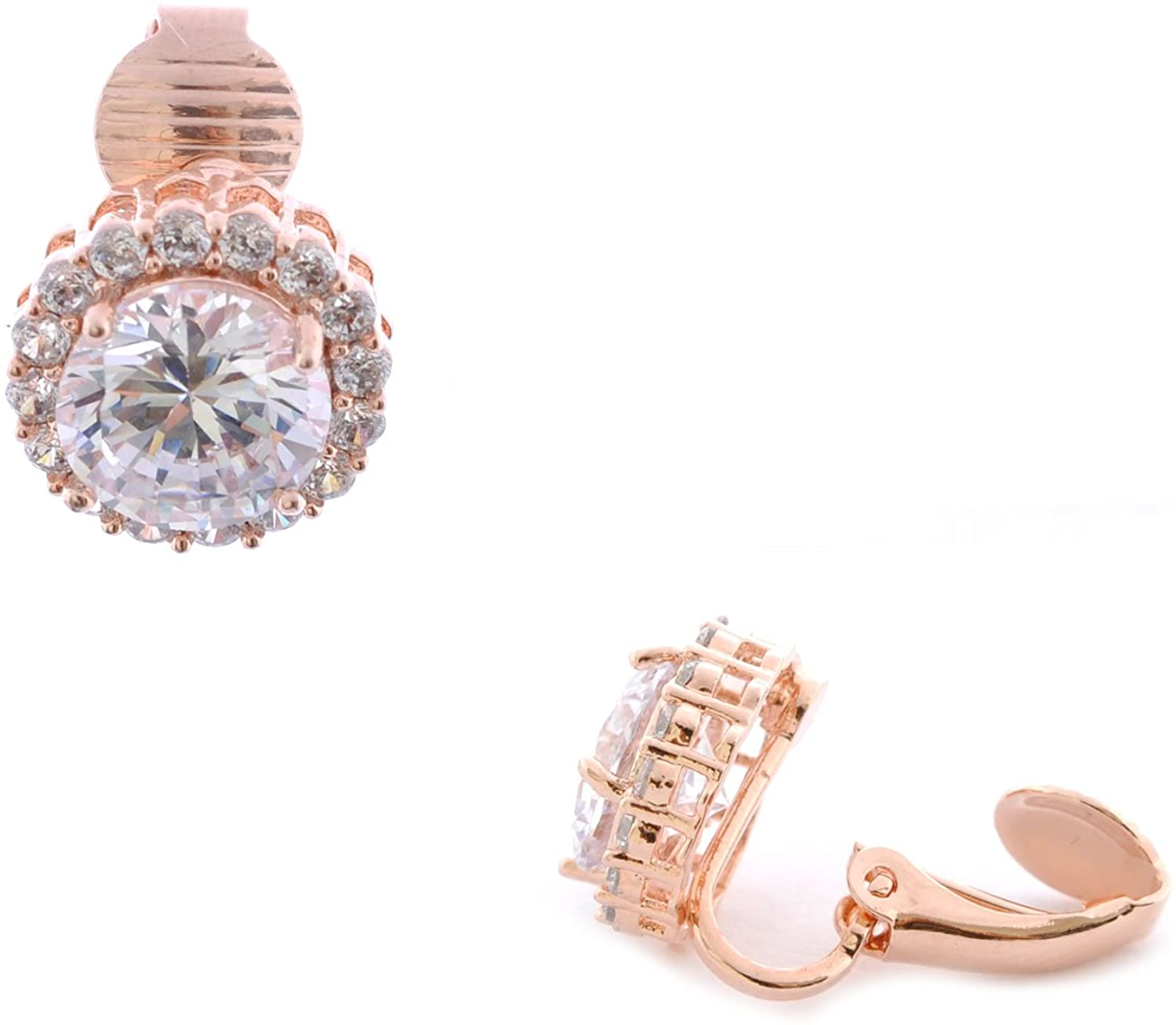 Topwholesalejewel Fashion Earrings Rose Gold Plating Clip On Earrings