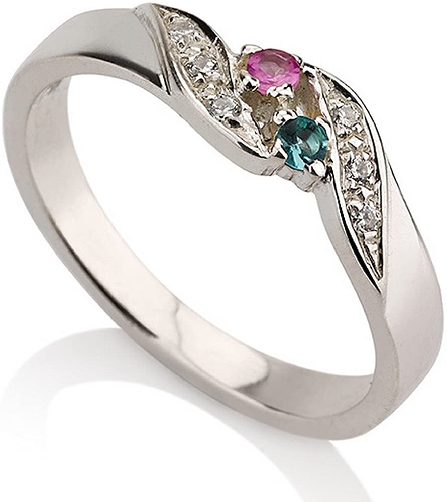 Promise Ring Sterling Silver Simulated Birthstone Ring Couples Ring Band Ring