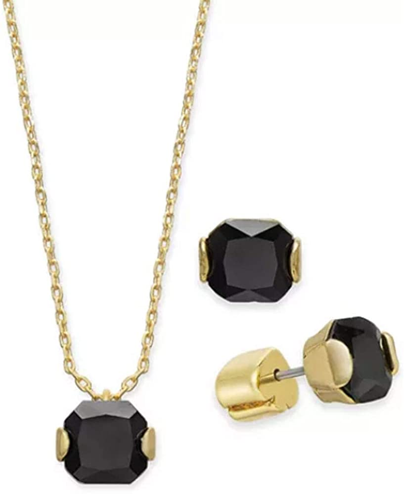 Kate Spade New York Gold-Tone Princess-Cut Cubic Zirconia Jet Pendant Necklace and Stud Earrings Set, 16 + 3 Extender