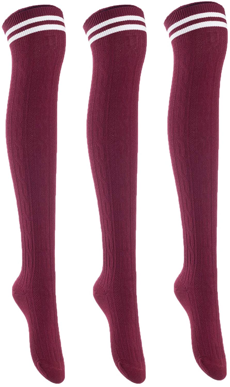 Lian LifeStyle Big Girl's Women's 3 Pairs Thigh High Cotton Socks Size 6-9 L1023