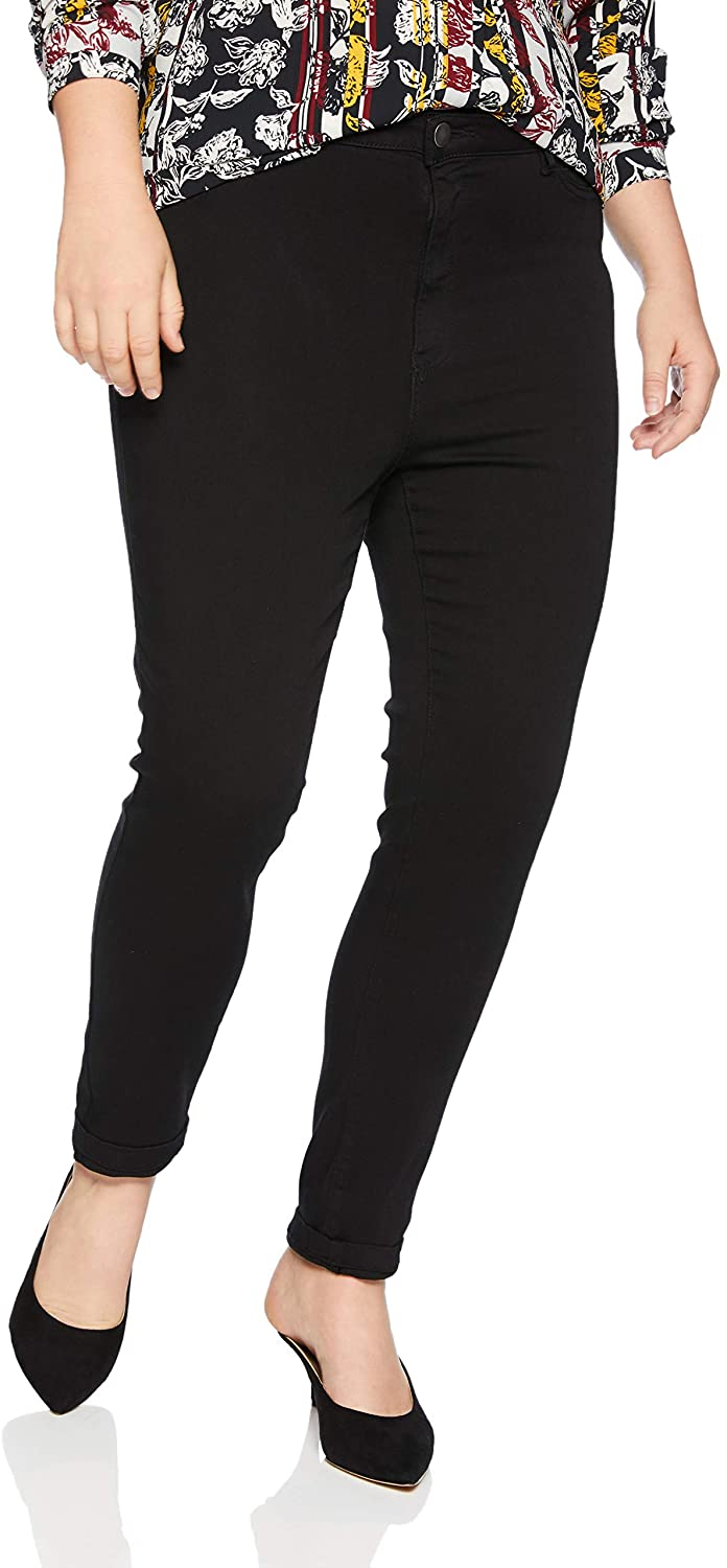 Junarose Women's Plus Size One High Waisted Slim Solid Black Jeans