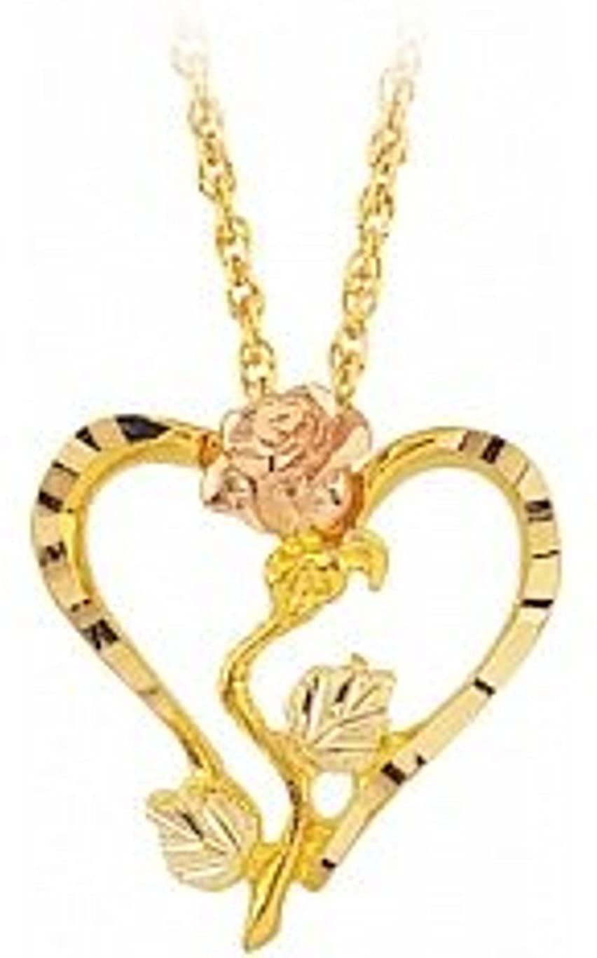 Black Hills Gold Heart Rose Necklace (G2424)