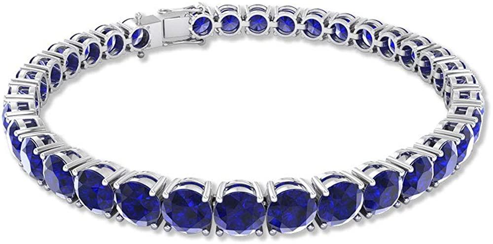 22.75 Ct Blue Sapphire Tennis Bracelet, Stack Gemstone SGL Certified Charm Bracelet, Bridal Wedding Bracelet, Sister Statement Bracelet 7 Inch