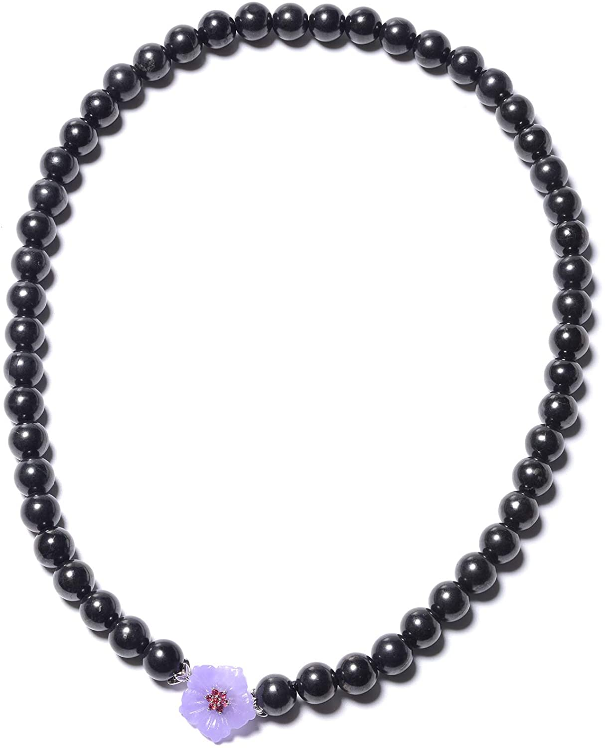 JARDIN COLLECTION 925 Sterling Silver Garnet Rhodium Plated Purple Jade Healing Pain Relief Black Karelian Shungite Beaded Necklace with Clasp Anniversary Jewelry Gift for Women Size 20