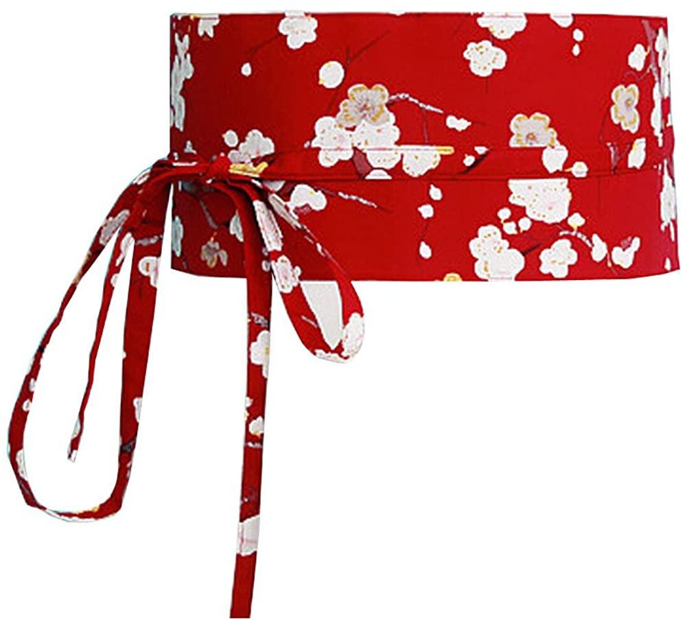 Women Japanese Kimono Obi Yukata Obi Waistband Harajuku Red Waistbelt Cherry
