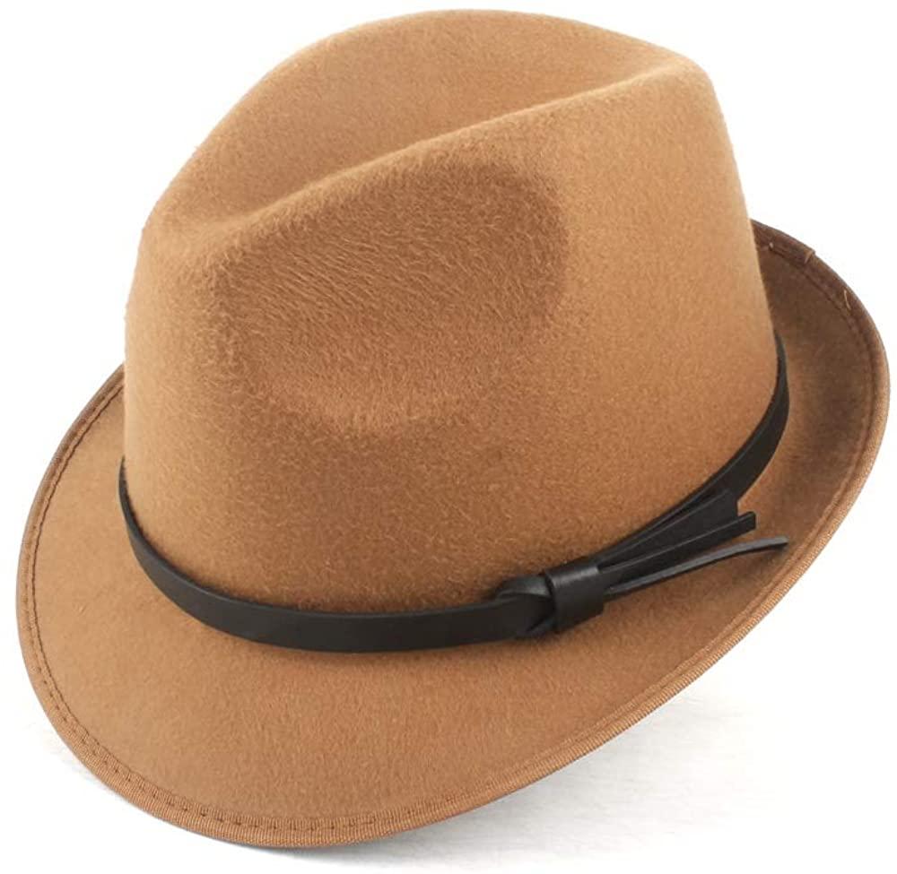 QinMei Zhou Hat Female Fashion Suitable for Dad Knight Autumn Wool Polyester Fedora Hat Jazz Hat Winter Church Hat