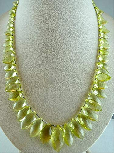 GemAbyss Beads Gemstone Natural Lemon Quartz Facetted Briolette Beads Necklace 21 INCHES 21MM to 10MM Code-MVG-46294