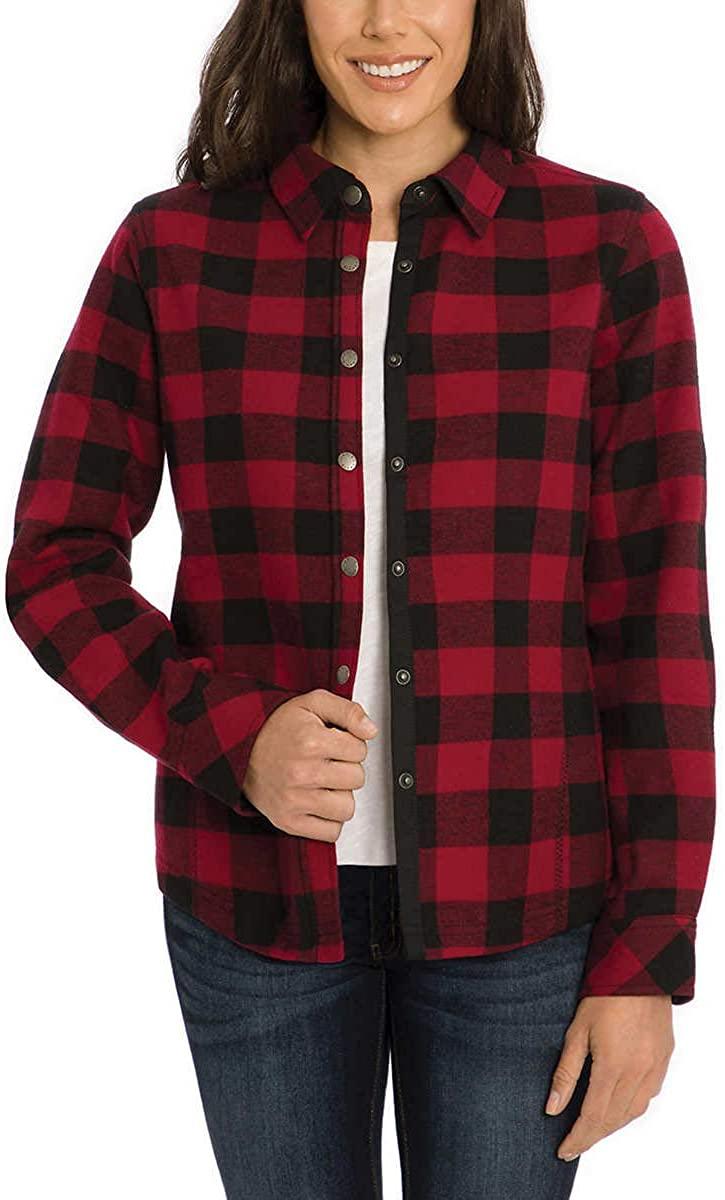 Orvis Womens Fleeced Lined Flannel Pinnacle Shirt Jacket (Berry/Black Buffalo, X-Large)