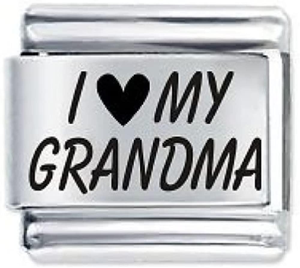 Sexy Sparkles I Love My Grandma Italian Link Bracelet Charm