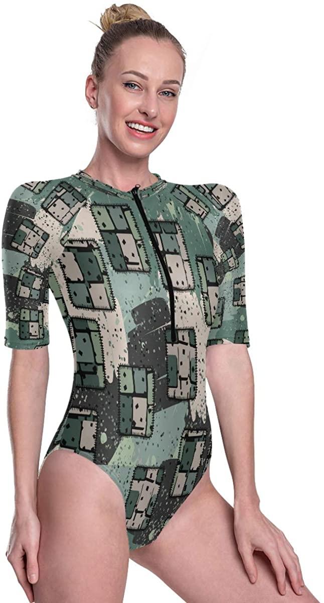 Godfery Gabriel Womens Zip Up Printed Short Sleeve 1 Piece Rash Guard Swimsuit Colorful Sewing Patches Swimwear