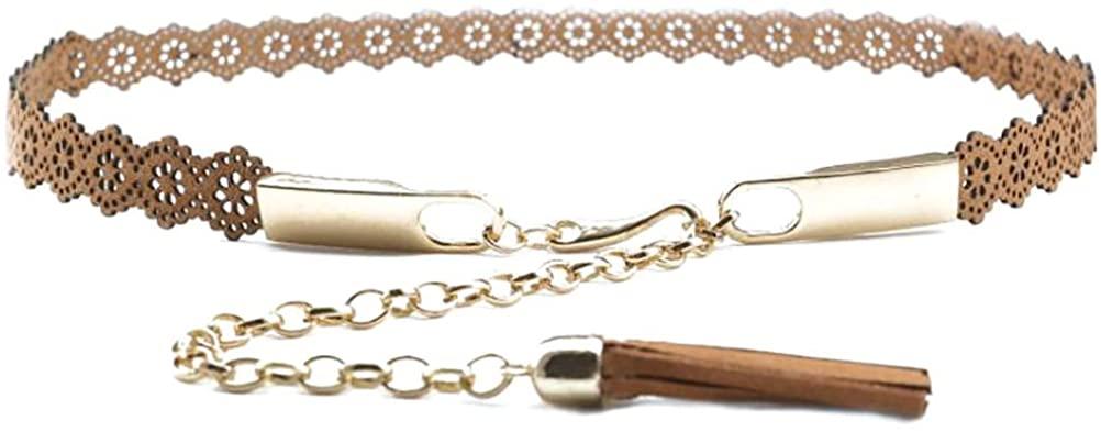 Women Girls Waist Belt PU Leather Flower Hollowed-out Waist Chain with Tassel