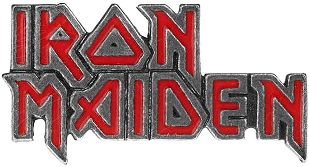Alchemy Rocks Iron Maiden Logo Pin Badge (Red)