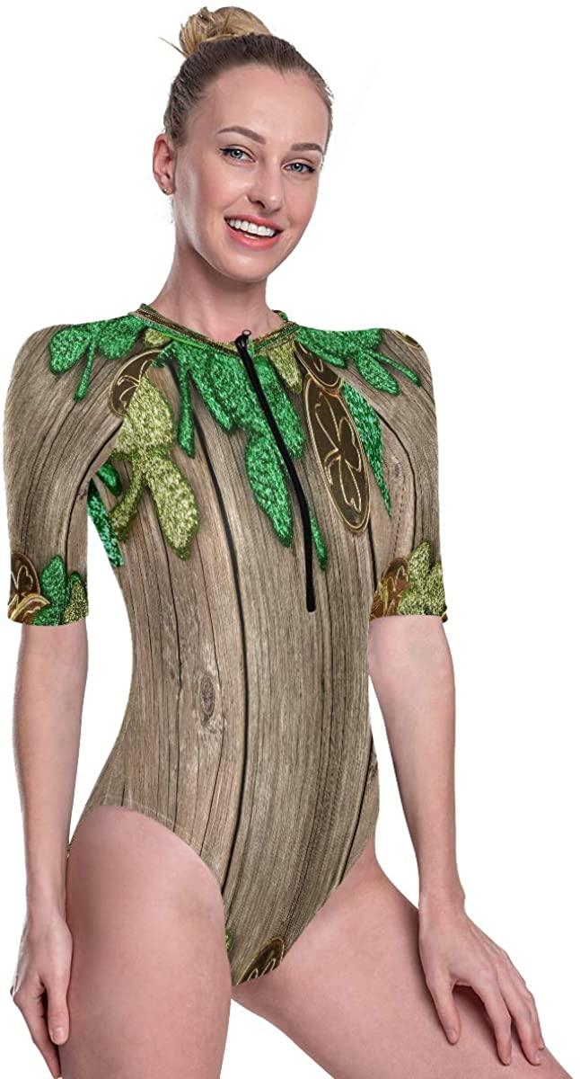Women's One Piece Short Sleeve Rashguard Surf Swimsuit St Patricks Day Double Border Bathing Suit