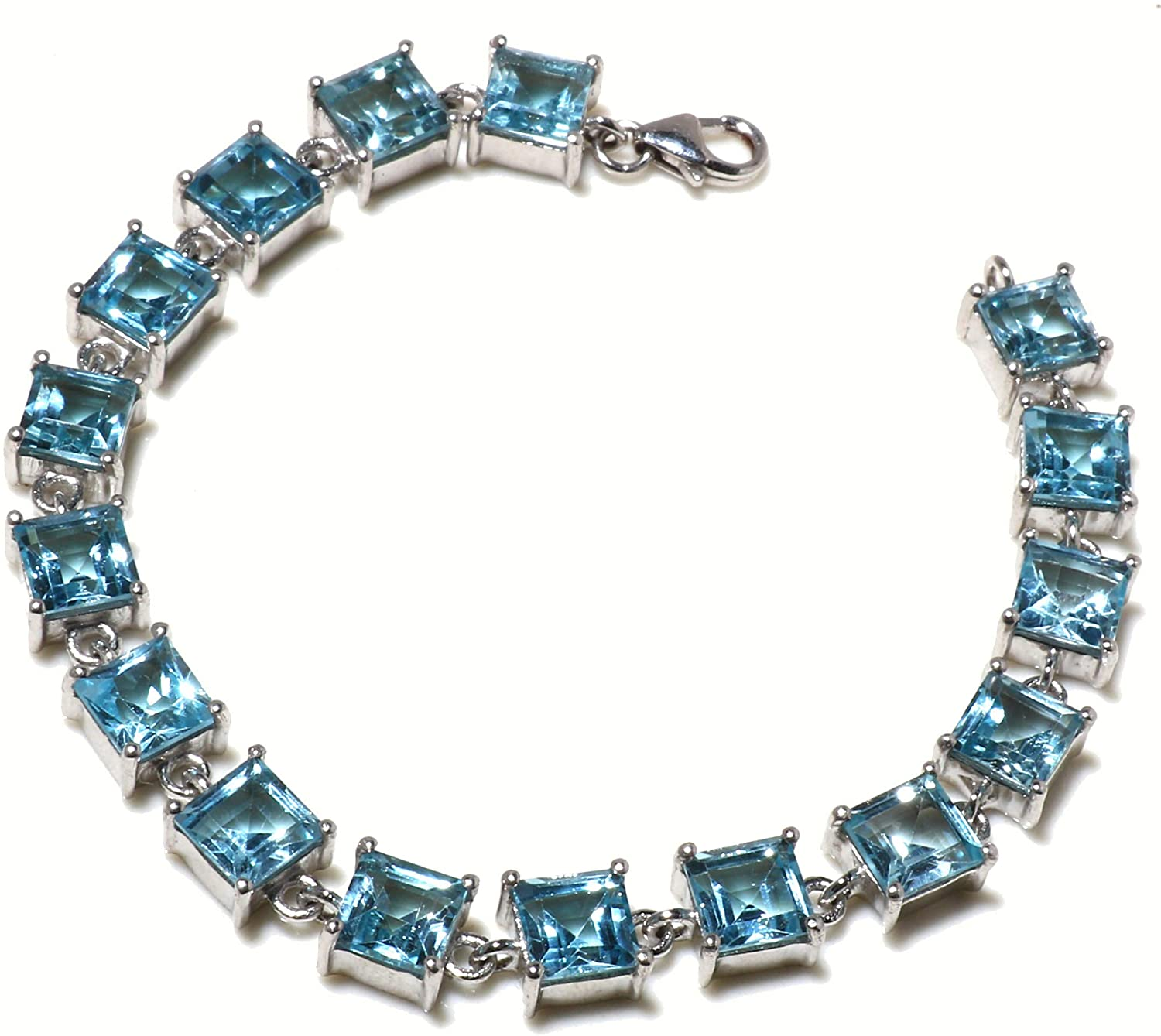 Tibetan Silver Genuine Blue Topaz Gemstone Bracelet for Women, Authentic 925 Sterling Silver Modern Fashion Unique Designer Party Jewelry Handmade Artisans, December Birthstone/Length: 6.5