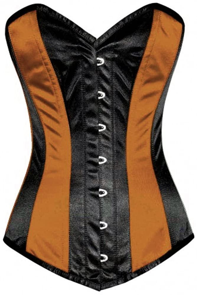 Brown Black Satin Burlesque Plus Size Waist Shaper Long Overbust Corset Costume