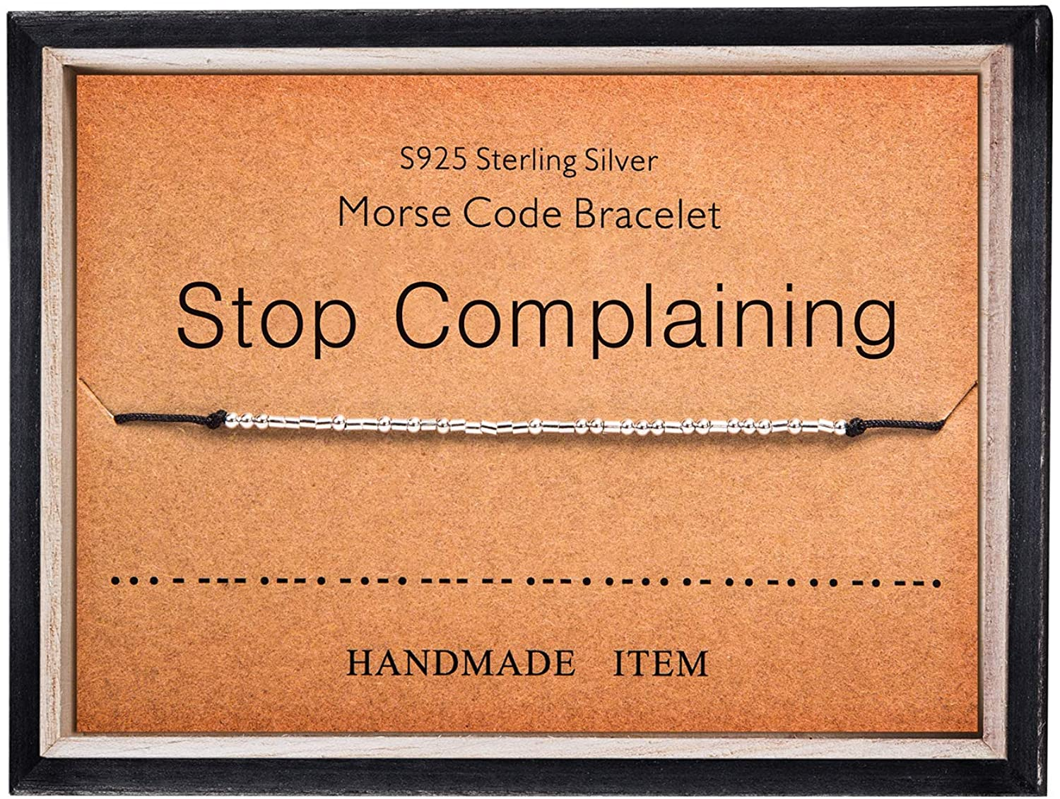 Stop Complaining Bracelet Morse Code Jewelry Gift for Her 925 Sterling Silver Bead on Silk Cord Bracelet Inspirational Jewelry for Women