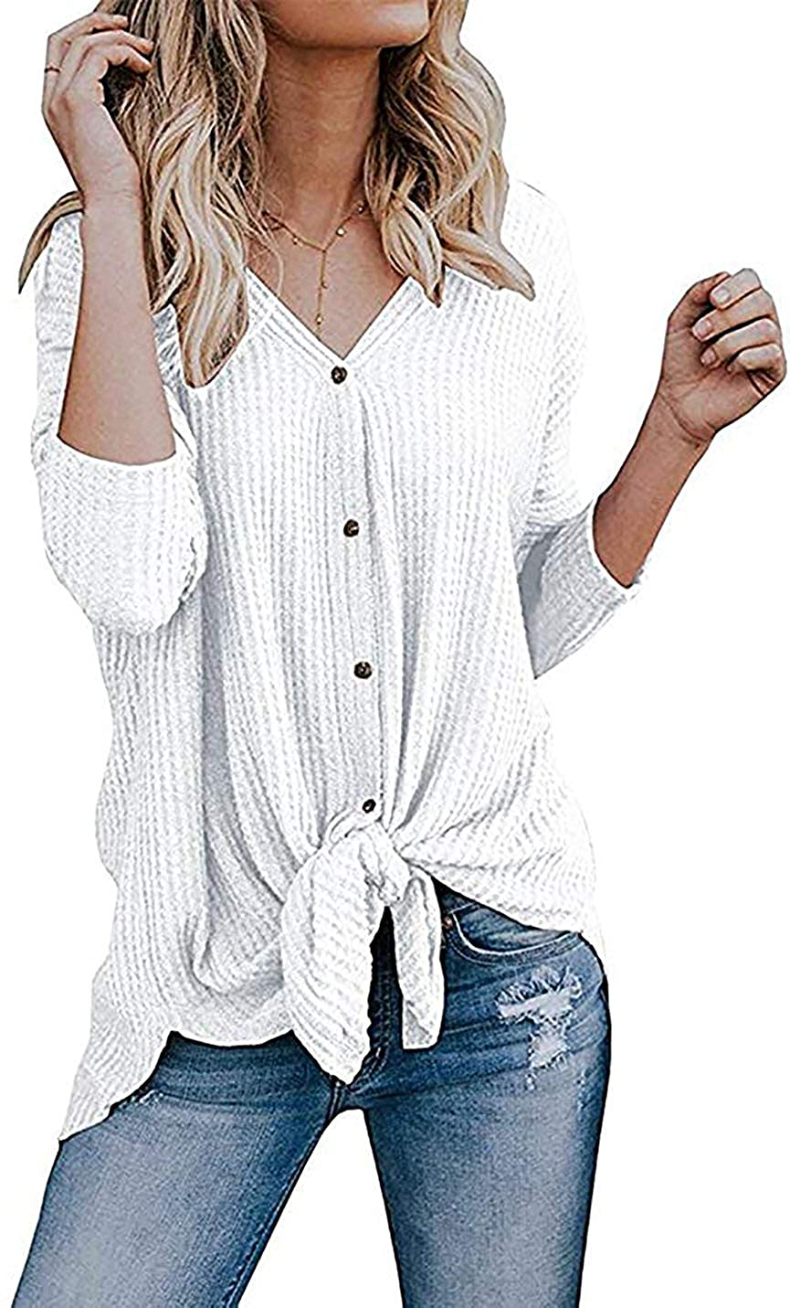 Green Ink Women's Waffle Knit Tunic Blouse Tie Knot Henley Tops Loose Fitting Bat Wing Plain Shirts