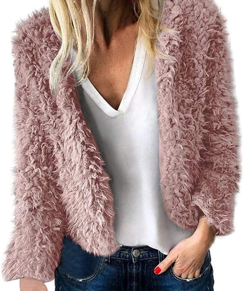 Giving is Living Apparel Women Warm Artificial Wool Coat Lapel Winter Outerwear Faux Fur