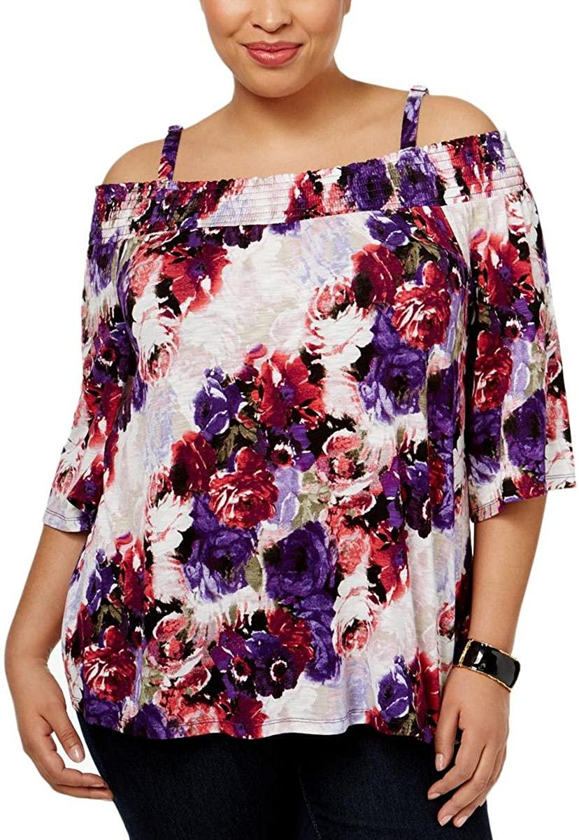 INC Womens Plus Fantasia Floral Cold Shoulder Blouse Purple 2X
