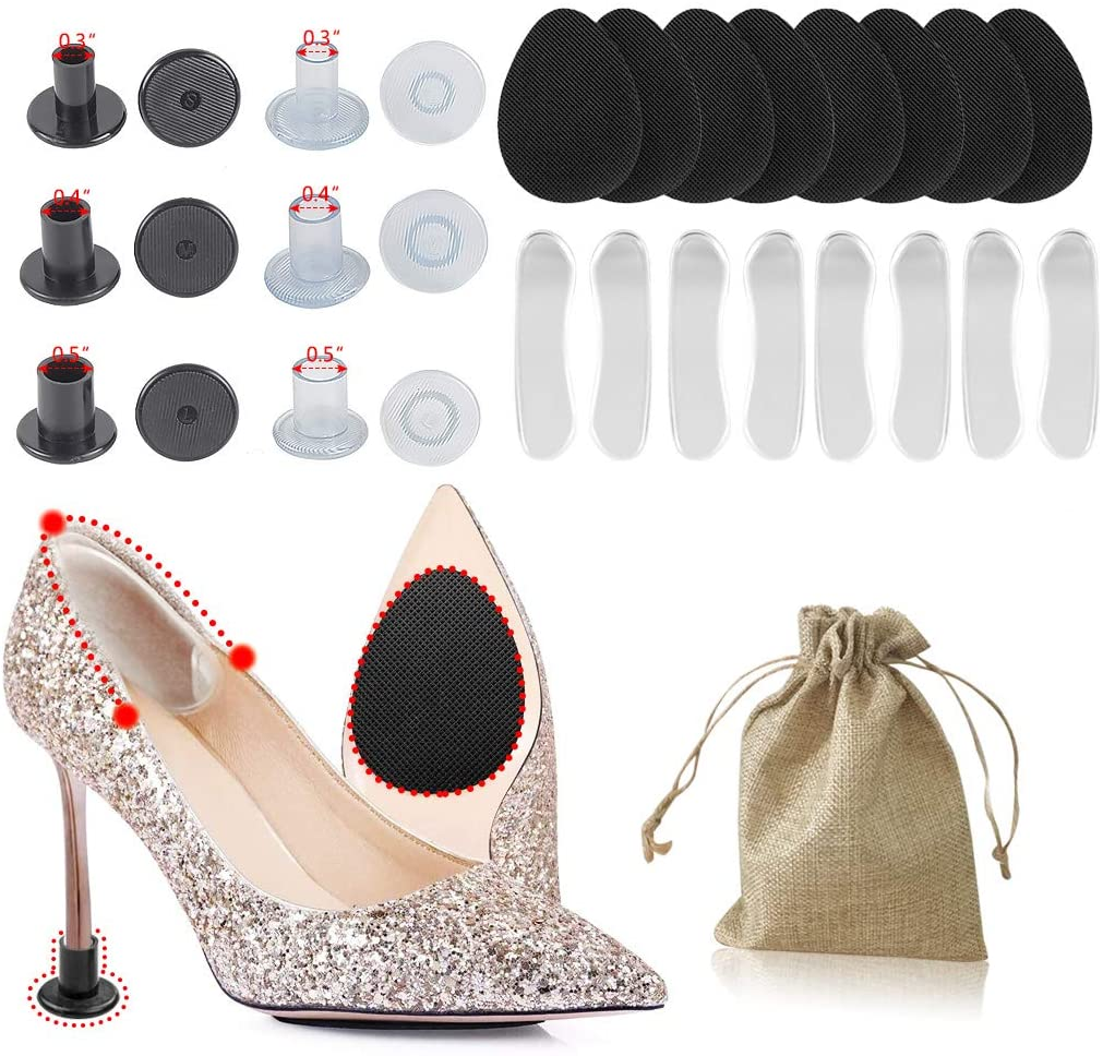 Self-Adhesive Anti-Slip Stick Pad for Shoes, Upgraded Skid Proof Rubber Sole Stick Protector, Keep High Heels/Shoes from Slipping and Shoe Pads for Preventing Heel Slipping