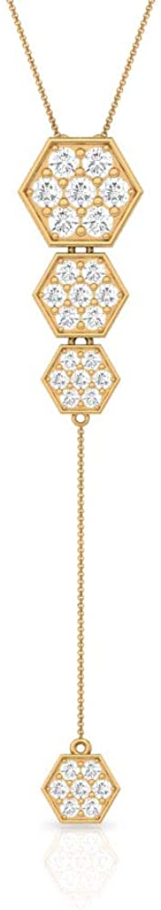 0.63 CT Pave SGL Certified Diamond Hexagonal Chain Pendant, Antique Geometric Gold Women Y Necklaces, Minimal stackable Layering Pendant, Mother Gifts