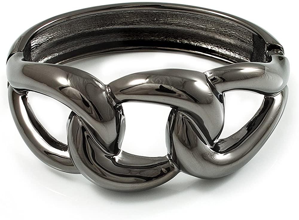 Avalaya Gun Metal Knot Hinged Bangle Bracelet