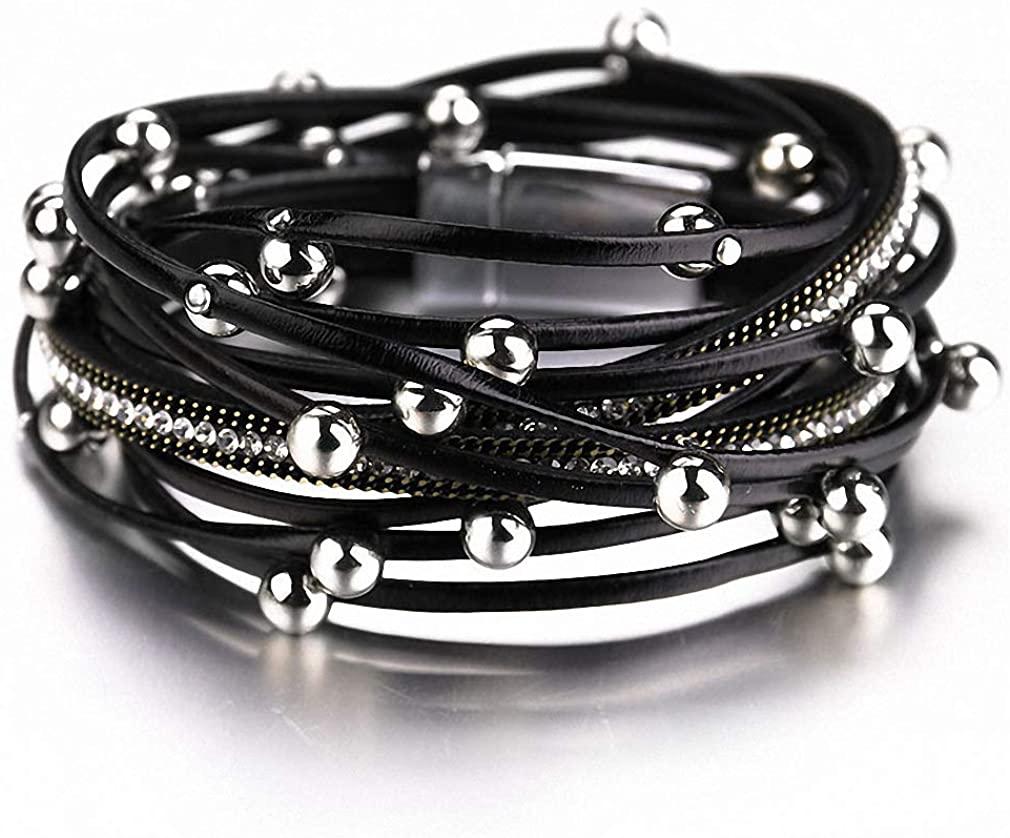 Hynsin Womens Mens Bracelet Multilayer Leather Bracelets for Women Beads Charm Double Wrap Bracelets Bangles Jewelry