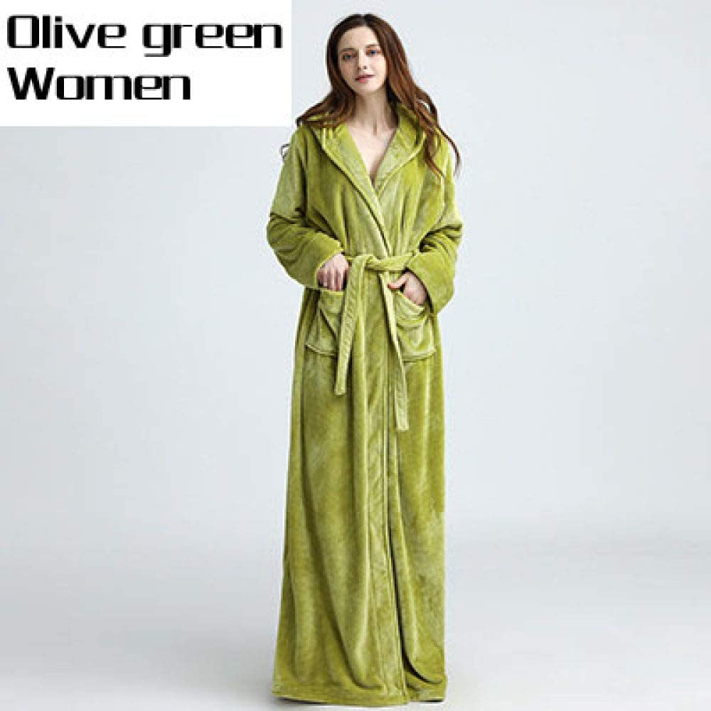 llwannr Bathrobe Robe Nightgown Sleep,Lovers Thermal Hooded Extra Long Flannel Bathrobe Women Men Thick Warm Winter Kimono Bath Robe Bridesmaid Robes Dressing Gown,Olive Green Women,L