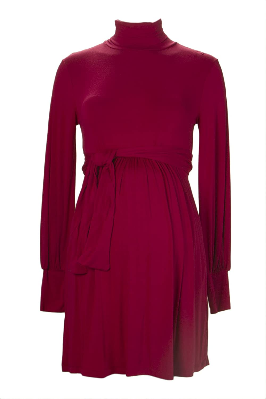 Olian Maternity Womens Cherry Bishop Sleeve Turtleneck Tunic Top