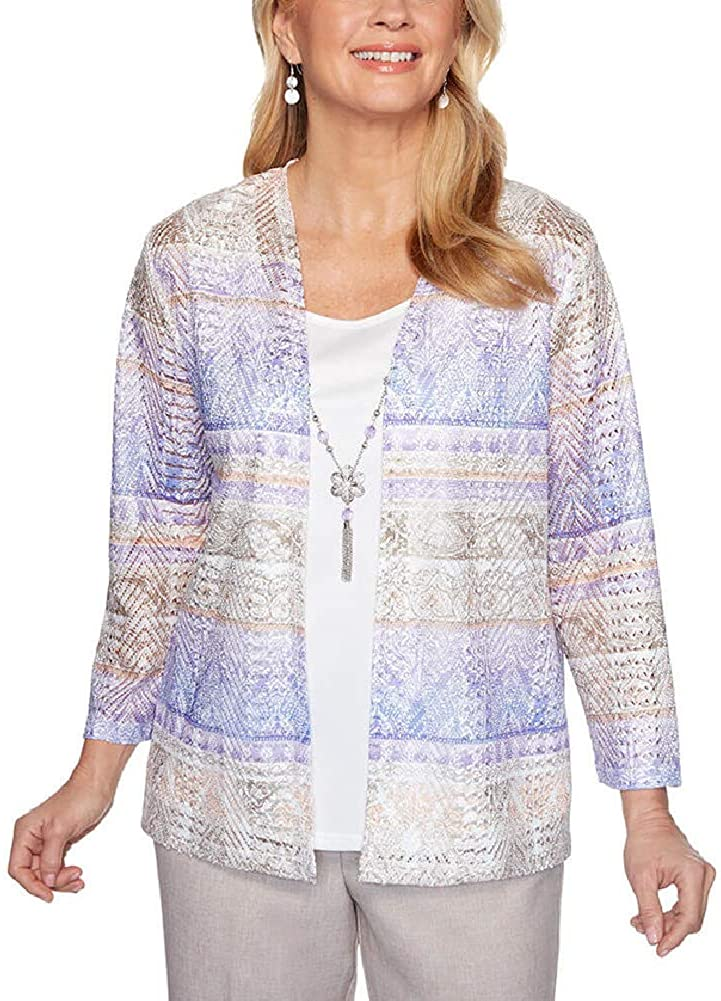 Alfred Dunner Women's Petite Biadere Two-for-one Top