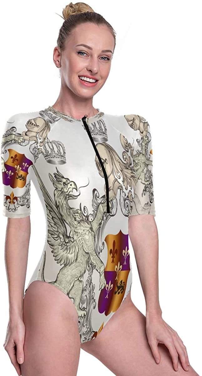 Womens One Piece Short Sleeve Rashguard Surf Swimsuit Shield Crown and Winged Griffin Bathing Suit
