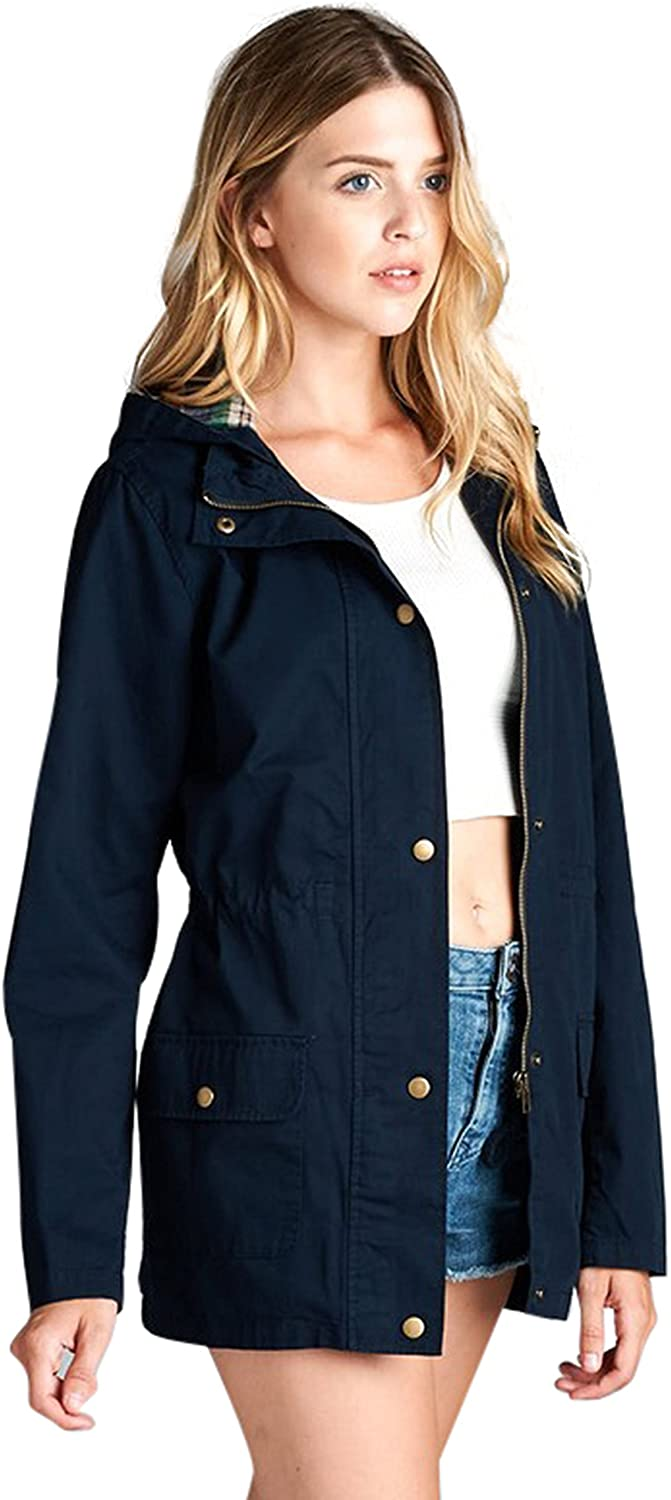 ToBeInStyle Women's Drawsting Cinched Waist Hooded Utility Jacket