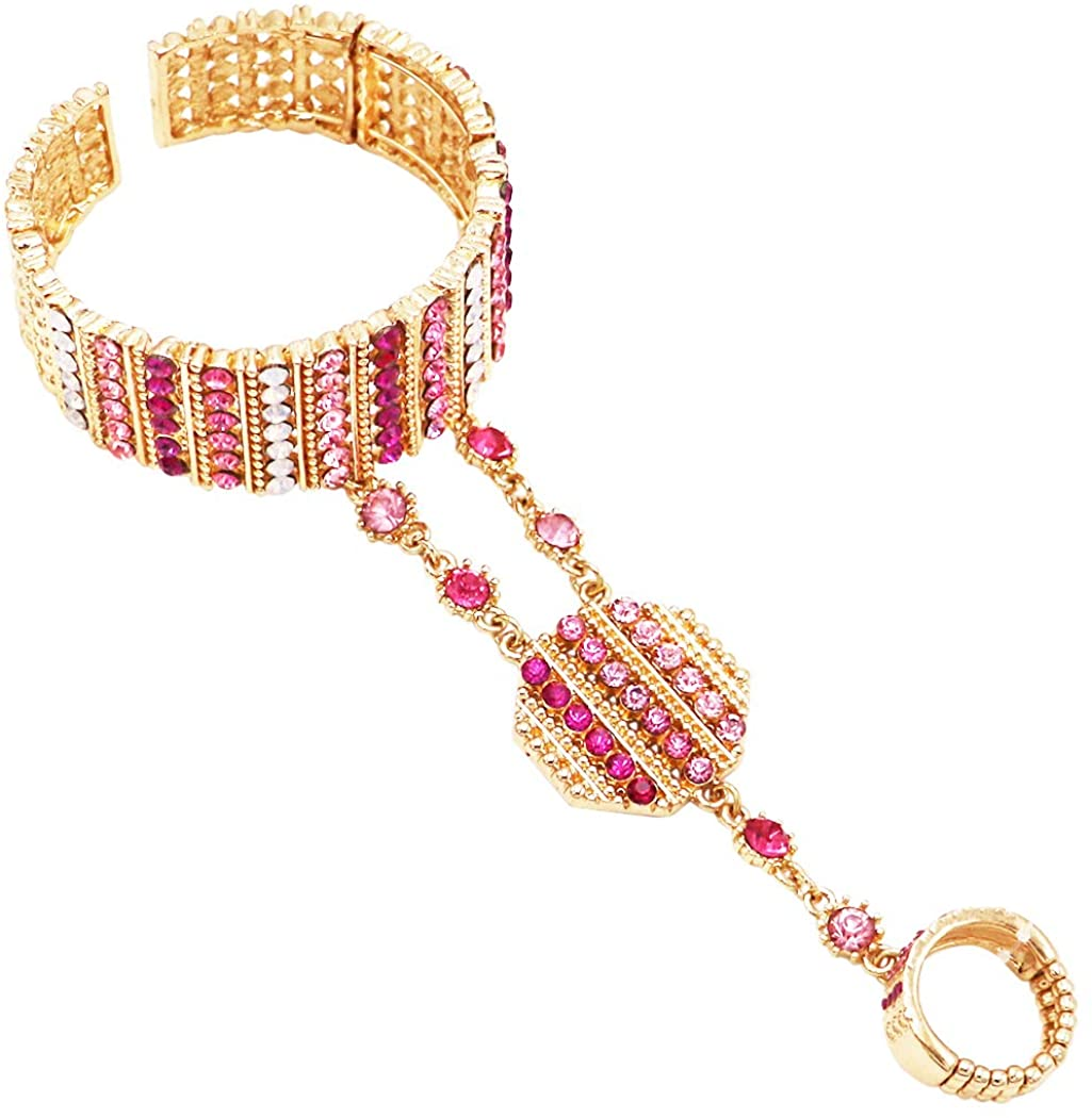Rosemarie & Jubalee Women's Gold Tone and Pink Crystal Rhinestone Statement Hand Chain Cuff Bracelet and Ring