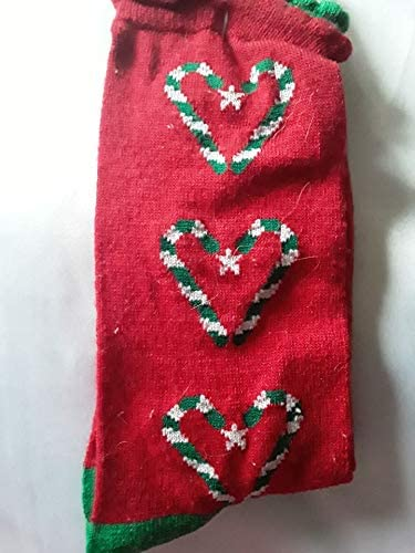 Holiday Editions Candy Cane Hearts Christmas Socks - Womens Sock Size 9-11
