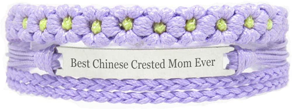 Miiras Pet Lover Engraved Handmade Bracelet for Women - Best Chinese Crested Mom Ever - Purple FL- Made of Braided Rope, Stainless Steel - Gift for Chinese Crested Mom