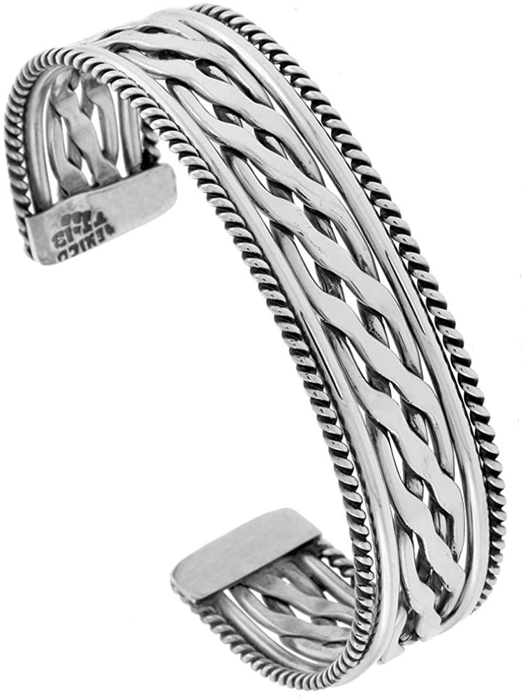 Sterling Silver Rope Edge Cuff Bracelet Braid Wire Center Handmade 7.25 inch