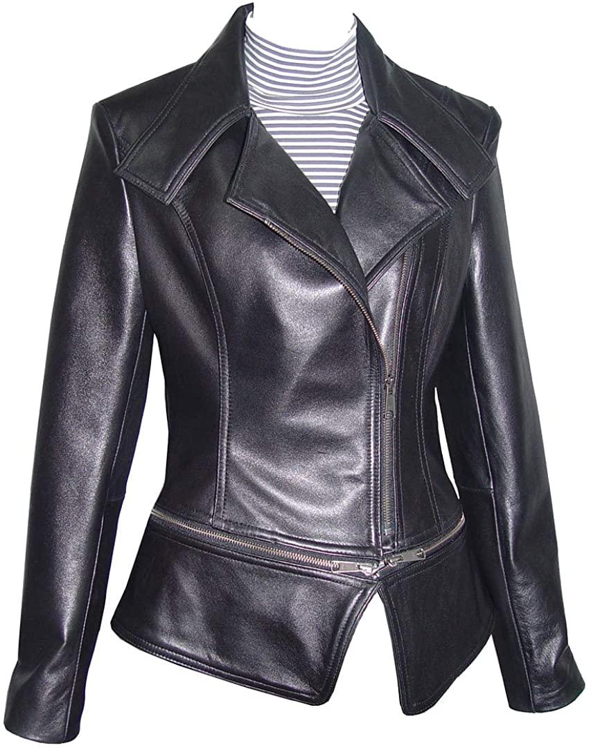 14P Size Ladies 4092 Cute Biker Jackets Leather Fashion Soft Lamb Black