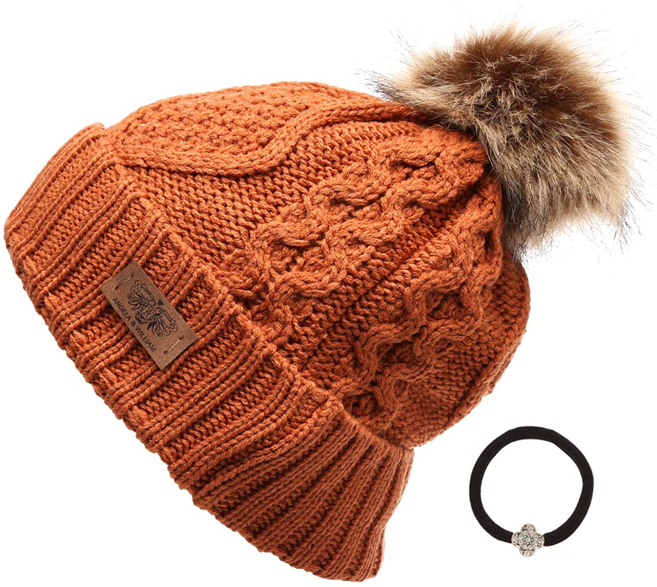 ANGELA & WILLIAM Women's Winter Fleece Lined Cable Knitted Pom Pom Beanie Hat with Hair Tie.
